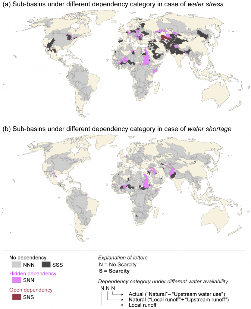 Maps of upstream water dependency in 2010